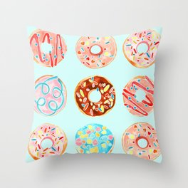 DONUT TREAT in dreamy pastels Throw Pillow
