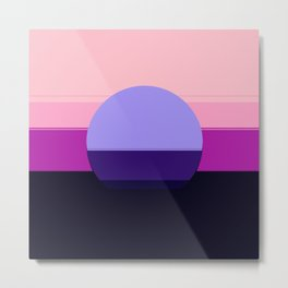 Mod Circle Abstract Pink Purple Periwinkle Blue Metal Print