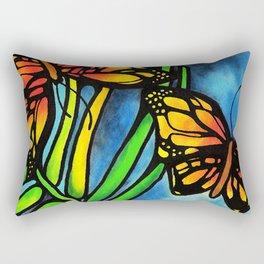 Beautiful Monarch Butterflies Fluttering Over Palm Fronds by annmariescreations Rectangular Pillow