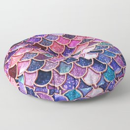 Pink & Purple Trendy Glitter Mermaid Scales Floor Pillow