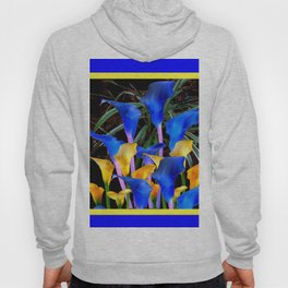 BLUE-BLACK MODERN ABSTRACT BLUE & GOLD CALLA LILIES Hoody
