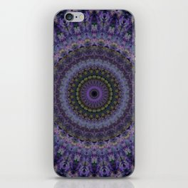Mandala with violet and purple ornaments iPhone Skin