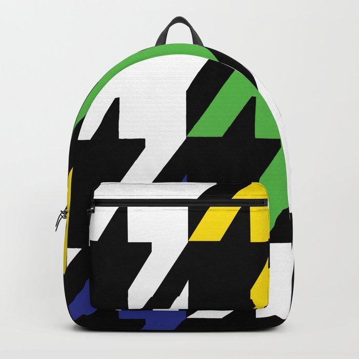 Jumbo Scale Masculine Colored Houndstooth Pattern Backpack