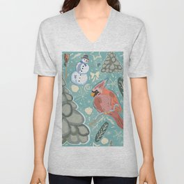 Bird and Snowman Unisex V-Neck