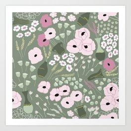 Pink Poppies - kaki floral pattern Art Print