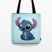 chibi Tote Bags featuring Chibi Stitch by Katie Simpson a.k.a. Redhead-K