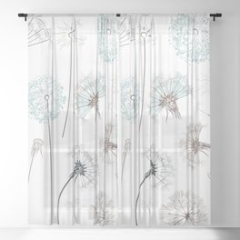 Hand drawn vector dandelions in rustic style Sheer Curtain
