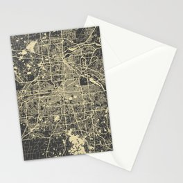 Minneapolis Map yellow Stationery Cards
