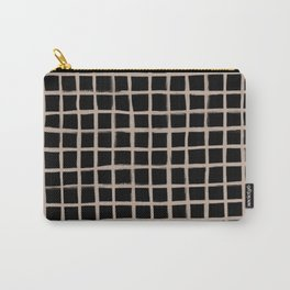 Form Brush Grid Nude on Black Carry-All Pouch