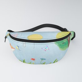 Fox - oh happy day on blue background - Watercolor illustration Fanny Pack