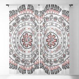 Pacific Northwest Native American Art Mandala Sheer Curtain
