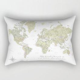 Where I've never been detailed world map in moss green Rectangular Pillow