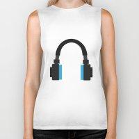 headphones Biker Tanks featuring Headphones by isaias_yoyo