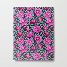Snow Leopard Teal Pink Roses Metal Print