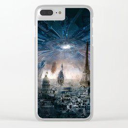 Aliens Destroying the World Clear iPhone Case