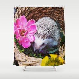 Juni Hedgehog flowers Shower Curtain
