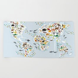 Cartoon animal world map for children and kids, Animals from all over the world Beach Towel