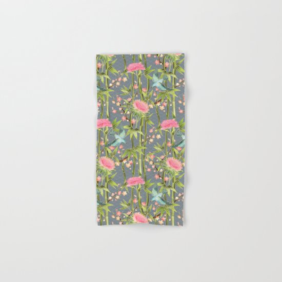 Bamboo, Birds and Blossom - grey Hand & Bath Towel