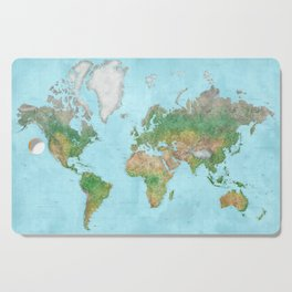 Watercolor physical world map (high detail) Cutting Board