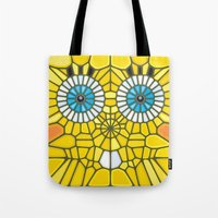spongebob Tote Bags featuring Spongebob Voronoi by Enrique Valles