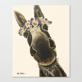 Cute Flower Crown Donkey, Up Close Donkey Art Canvas Print