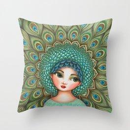 Peacock girl Throw Pillow