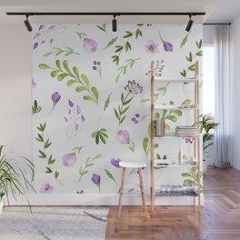 Purple Flower Field Wall Mural