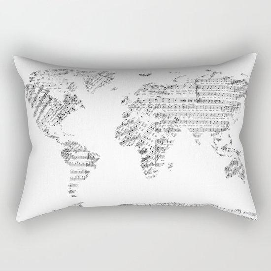 world map music vintage white Rectangular Pillow