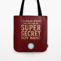 tony stark Tote Bags featuring Tony Stark by Bonnie Detwiller
