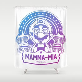 Mamma Mia Super Mario is-a Crazy Shower Curtain