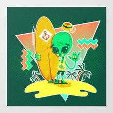 Alien Surfer Nineties Pattern Canvas Print