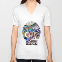 john snow V-neck T-shirts featuring Snow Globe by JOHN RUSSELL ABSTRACTS