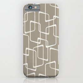 Retro Rounded Rectangles in Medium Warm Gray iPhone Case