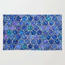 Sparkly Shades of Blue & Silver Glitter Mermaid Scales Rug