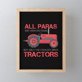 Coolest Tractor Papa Farming Dad Farmer Father Framed Mini Art Print