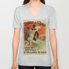 Th Tre De L Op Ra Carnaval 1896 Grand Veglione De Gala 1896 By Jules Cheret | Reproduction Art Nouve Unisex V-Neck