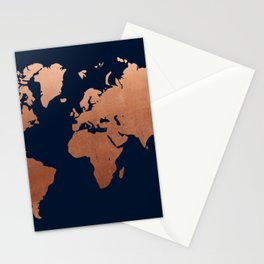 World map navy blue and copper Stationery Cards