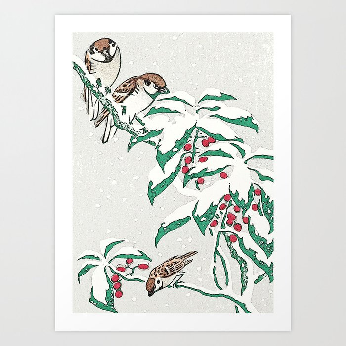 Christmas card Detail Sparrows in snow Art Print by anipani | Society6