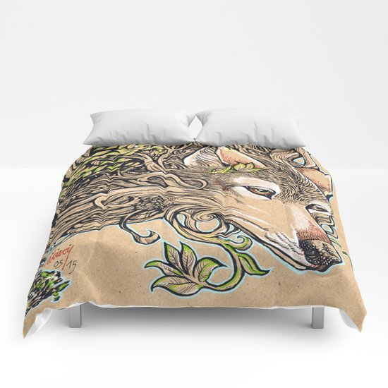 Dog of the Mountain - Honshu Wolf Comforters