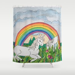 Unicorns, mother and child Shower Curtain