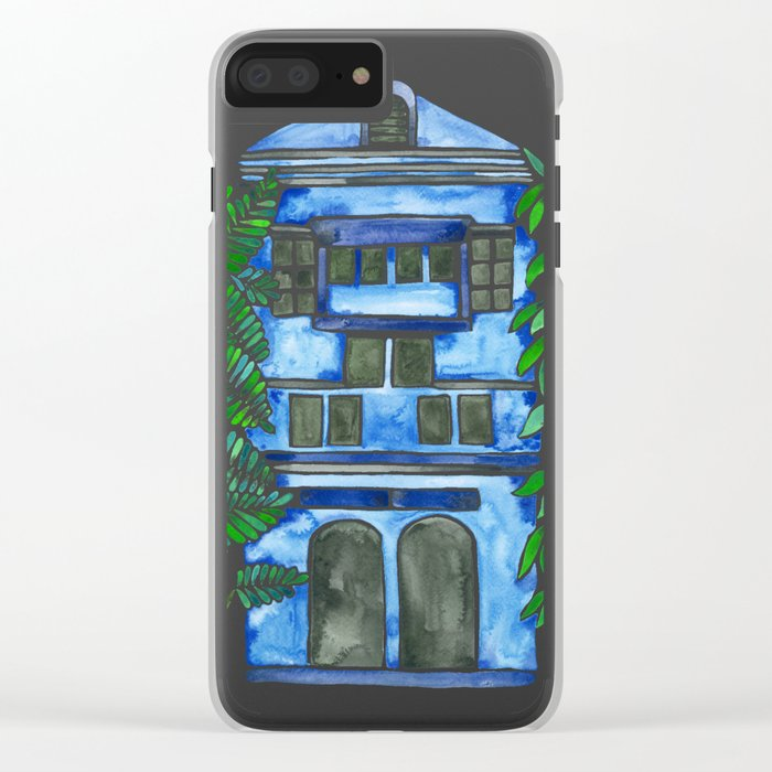 Tropical Blue House Clear iPhone Case