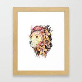 Watercolor Floral Lion Framed Art Print