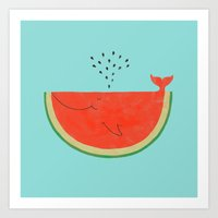 ilovedoodle Art Prints featuring Don't let the seed stop you from enjoying the watermelon by I Love Doodle