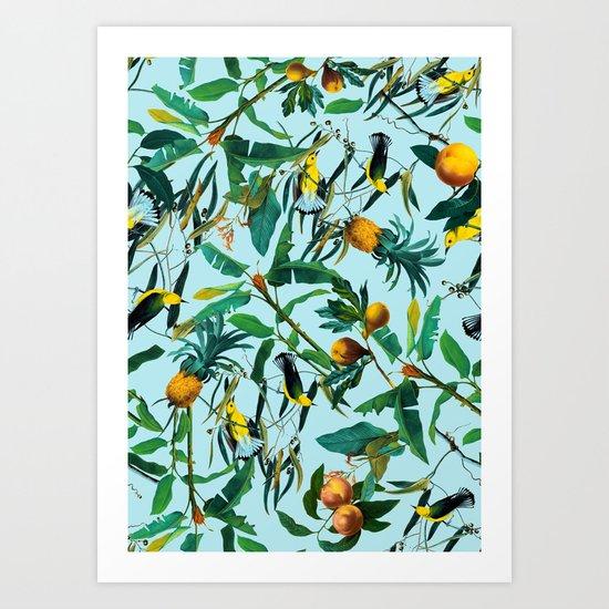Fruit and Birds Pattern Art Print