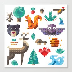 Geometric animals in forest Canvas Print