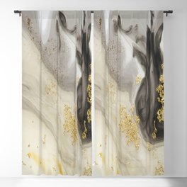 Marbled Paint Swirls in Cream, Gray and Gold Blackout Curtain