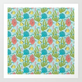 Tropical Fish and Coral Reef in Pastel Art Print