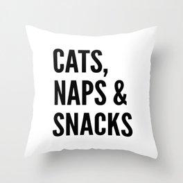 Cats, Naps & Snacks Throw Pillow
