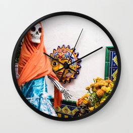 Day of the Dead Altar with Skeleton Lady in Blue Dress and Orange Shawl Wall Clock