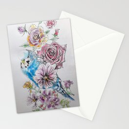Blue Budgie and Rose Watercolor Stationery Cards